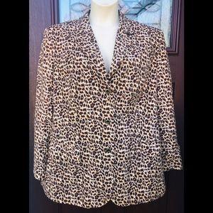 100% Silk Leopard Animal Print Blazer Jacket 2X